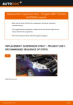 Step by step PDF-tutorial on Shock Absorber PEUGEOT 208 replacement