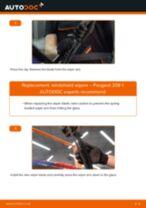 DIY PEUGEOT change Wiper blades front and rear - online manual pdf