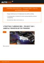 Montering Støtdempere PEUGEOT 208 - steg-for-steg manualer