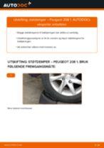 Skifte Støtdemper PEUGEOT 208: verkstedhåndbok