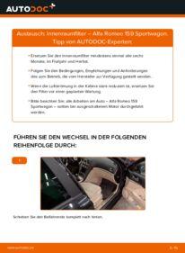 Wie der Wechsel durchführt wird: Innenraumfilter 1.9 JTDM 16V Alfa Romeo 159 Sportwagon tauschen