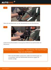 Wie der Wechsel durchführt wird: Scheibenwischer 1.9 JTDM 16V Alfa Romeo 159 Sportwagon tauschen