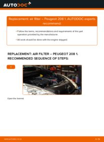 How to carry out replacement: Air Filter on 1.4 HDi Peugeot 208 Mk1