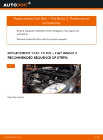 How to carry out replacement: Fuel Filter on 1.9 D Multijet FIAT BRAVO II (198)