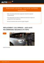 DIY AUDI change Coil springs front left right - online manual pdf
