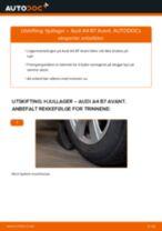 Hvordan bytte og justere Hjullagersett AUDI A4: pdf håndbøker