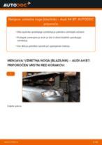 Kako zamenjati avtodel vzmetna noga (blazilnik) spredaj na avtu Audi A4 B7 – vodnik menjave