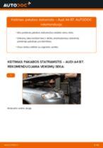 Kaip pakeisti Audi A4 B7 pakabos statramstis: priekis - keitimo instrukcija