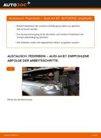 Wie der Wechsel durchführt wird: Stoßdämpfer 2.0 TDI 16V Audi A4 B7 Limousine tauschen