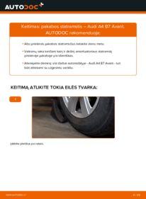 Kaip atlikti keitimą: 2.0 TDI Audi A4 b7 Amortizatorius