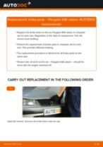 Changing Brake Pads PEUGEOT 406: workshop manual