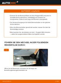 Wie der Wechsel durchführt wird: Bremsscheiben 2.0 HDI 110 Peugeot 406 Limousine tauschen