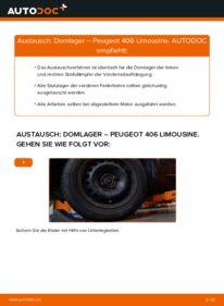 Wie der Wechsel durchführt wird: Domlager 2.0 HDI 110 Peugeot 406 Limousine tauschen