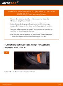 Wie der Wechsel durchführt wird: Innenraumfilter 1.6 (L69) Opel Astra H Limousine tauschen