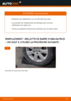 Comment changer : biellette de barre stabilisatrice arrière sur VW Golf 5 - Guide de remplacement