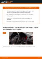 Changement Essuie-Glaces avant et arrière VW GOLF V (1K1) : guide pdf