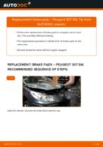 How to replace and adjust Brake pad set PEUGEOT 307: pdf tutorial