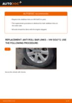 How to change rear anti roll bar links on VW Golf 5 – replacement guide