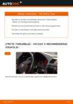 Byta torkarblad fram på VW Golf 5 – utbytesguide