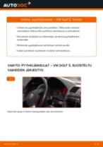 Kuinka vaihtaa pyyhkijänsulat eteen VW Golf 5-autoon – vaihto-ohje
