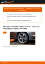 Kako zamenjati avtodel končnik stabilizatorja spredaj na avtu Audi A4 B8 – vodnik menjave