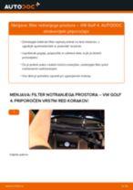 Kako zamenjati avtodel filter notranjega prostora na avtu VW Golf 4 – vodnik menjave