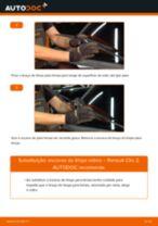 Como mudar escovas do limpa vidros da parte dianteira em Renault Clio 2 - guia de substituição