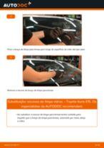 Como mudar escovas do limpa vidros da parte dianteira em Toyota Auris E15 - guia de substituição