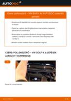 Pollenszűrő-csere VW Golf 4 gépkocsin – Útmutató