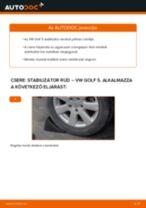 Hogyan cseréje és állítsuk be Stabilizátor összekötő VW GOLF: pdf útmutató