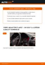 Elülső ablaktörlő lapát-csere VW Golf 5 gépkocsin – Útmutató