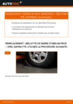 Comment changer : biellette de barre stabilisatrice avant sur Opel Zafira F75 - Guide de remplacement