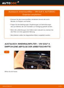 Wie der Wechsel durchführt wird: Innenraumfilter 1.4 16V Golf 4 tauschen