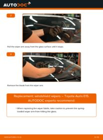 How to carry out replacement: Wiper Blades on 1.4 D-4D (NDE150_) Toyota Auris E15