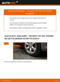 Wie der Wechsel durchführt wird: Radlager 1.6 HDI 110 Peugeot 307 SW tauschen
