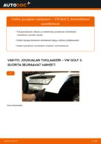 Kuinka vaihtaa jousijalan tukilaakeri taakse VW Golf 3-autoon – vaihto-ohje