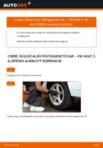 Elülső alsó felfüggesztő kar-csere VW Golf 3 gépkocsin – Útmutató