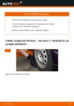 Elülső stabilizátor rúd-csere VW Golf 3 gépkocsin – Útmutató