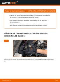 Wie der Wechsel durchführt wird: Bremsbeläge 2.8 VR6 Golf 3 tauschen