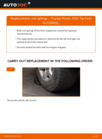 How to carry out replacement: Springs on 3.0 D-4D Toyota Prado J120