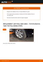 DIY TOYOTA change Stabiliser link rear and front - online manual pdf