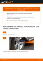 How to change Suspension spring front left right on TOYOTA RAV 4 III (ACA3_, ACE_, ALA3_, GSA3_, ZSA3_) - manual online