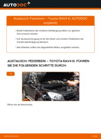 Wie der Wechsel durchführt wird: Stoßdämpfer 2.2 D 4WD (ALA30_) Toyota RAV4 III tauschen