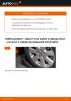 Comment changer : biellette de barre stabilisatrice avant sur VW Golf 5 - Guide de remplacement
