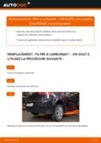 Comment changer : filtre à carburant sur VW Golf 5 - Guide de remplacement