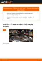 Tutoriel PDF étape par étape sur le changement de Filtre à Air sur VW GOLF V (1K1)