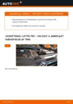 Udskift luftfilter - VW Golf 4   Brugeranvisning