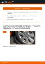 Cómo cambiar y ajustar Cable de accionamiento freno de estacionamiento VW GOLF: tutorial pdf
