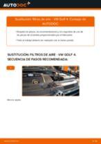 Cómo cambiar y ajustar Elemento filtro de aire VW GOLF: tutorial pdf
