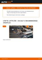 Byta luftfilter på VW Golf 4 – utbytesguide
